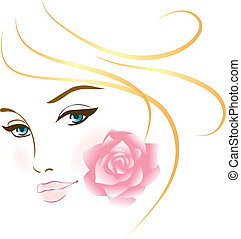 retrato, menina, beleza, rosto