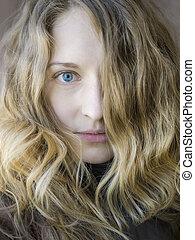 retrato, menina, blondy
