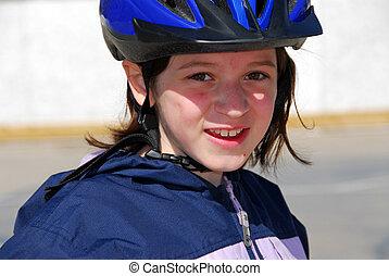 retrato, menina, capacete