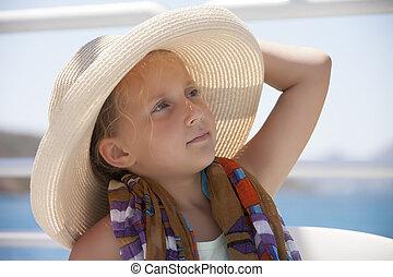 retrato, menina, chapéu