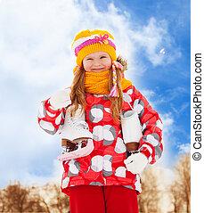 retrato menina, com, patins gelo