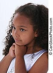 retrato, menina, criança