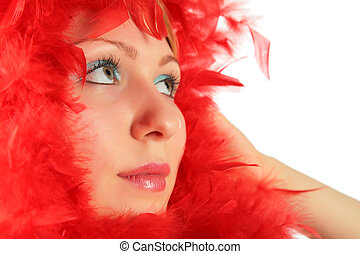 retrato menina, em, penas vermelhas