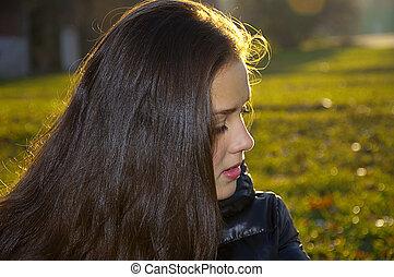 retrato, menina, jovem