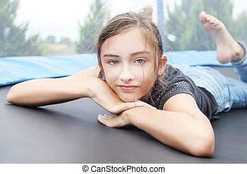 retrato, menina, jovem, relaxing.