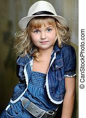 retrato, menina, moda, beleza, criança