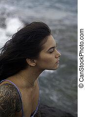 retrato menina, por, a, oceânicos