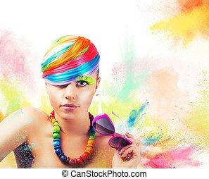 retrato, Moda, colorido, belleza