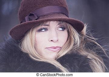 retrato, moda, inverno