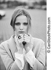Retrato, modelo, Ao ar livre, moda, mulher