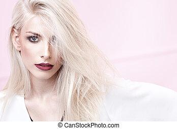 retrato, modelo, closeup, jovem, loura
