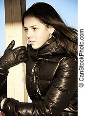 retrato, modelo, jovem, agradável
