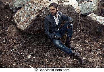 retrato, modelo, moda, homem, elegante
