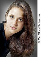 retrato, modelo, moda, jovem