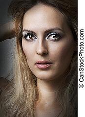 retrato, modelo, moda, rosto