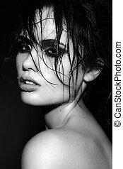 retrato, modelo, morena, jovem, molhados, excitado, sensual,...
