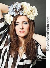 retrato, modelo, mulher, moda, beleza
