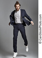 retrato, modelo, saltar, macho