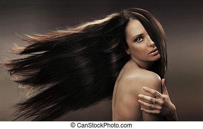 retrato, morena, haired, largo
