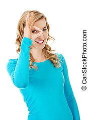 retrato, mostrando, mulher, tá bom sinal