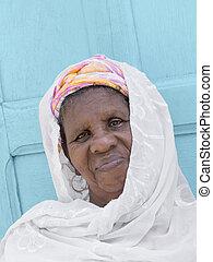 retrato, mujer, africano