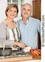 retrato, mujer, cocina, ella, marido