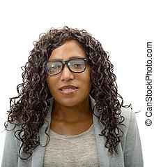retrato, mujer de negocios, norteamericano, africano
