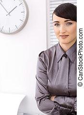 retrato, mujer de negocios