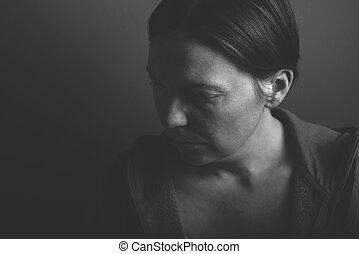 retrato, mujer, depresivo