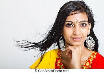 retrato, mujer, estudio, indio