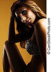 retrato, mujer, exquisito, lenceria, elegante