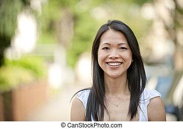 retrato, mujer, japonés, aire libre