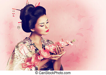 retrato, mujer, japonés, geisha