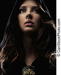 retrato, mujer, joven, capucha