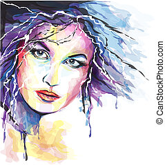 retrato, mujer, joven