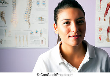 retrato, mujer, joven, fisioterapeuta