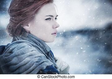 retrato, mujer, joven, invierno