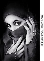 retrato, mujer, joven, musulmán