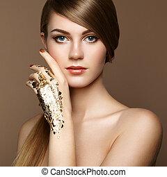 retrato, mujer, magia, oro