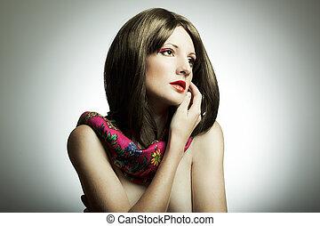 retrato, mujer, Moda, estudio, joven
