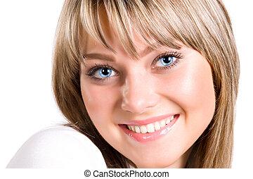 retrato, mujer sonriente, joven