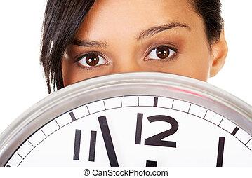 retrato, mujer, sorprendido, reloj