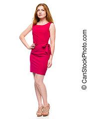 retrato, mujer, vestido, joven, rojo