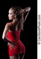 retrato, mujer, vestido, rojo, belleza