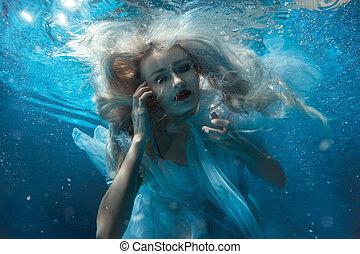 retrato, mujer, water., debajo