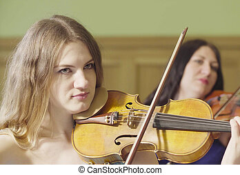 retrato, mujeres, Música, dos, juego