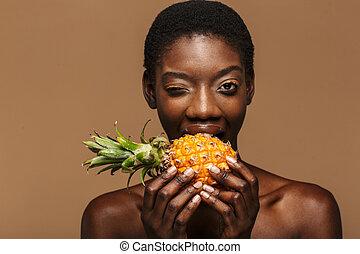 retrato, mulher, abacaxi, jovem, beleza, metade-despido, ...