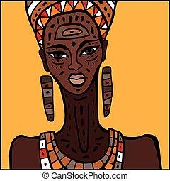 retrato, mulher, africano