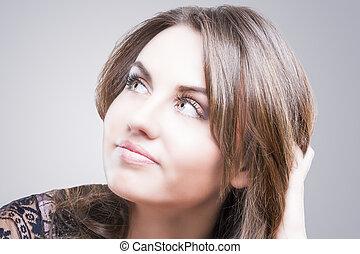 retrato, mulher, agradável, jovem, caucasiano