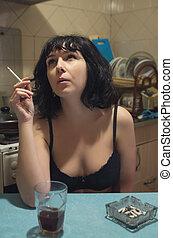 retrato mulher, antigas, sentando, vindima, cozinha